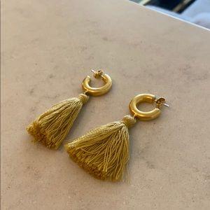 Madewell Gold & Yellow Pom Pom earrings set